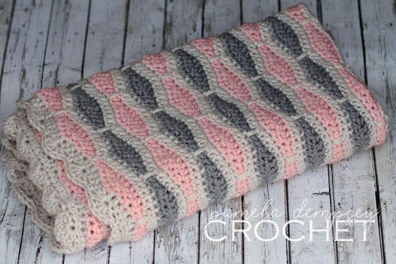 Crochet Baby Blanket Pink Grey Blanket Honeycomb Blanket image 0