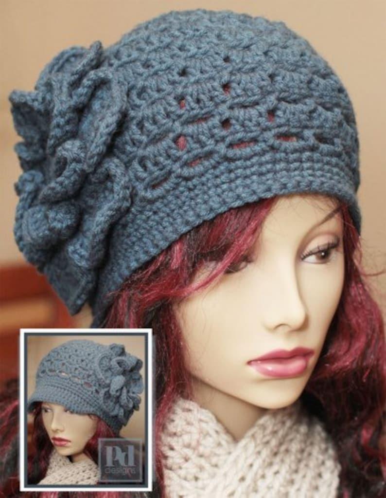 CROCHET Pattern / Eyelet Cloche Hat / Crochet Hat Pattern / image 0