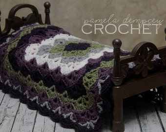 "Crochet Doll Blanket / Grapevine / American Girl Blanket / 18"" Doll Blanket / Photo Prop / Preemie Blanket / Green Purple Grey White"