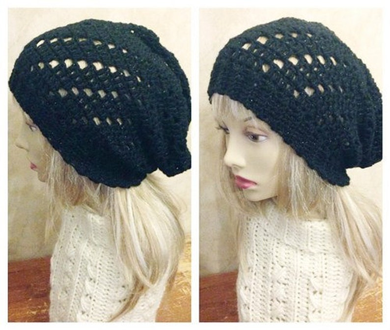 CROCHET PDF PATTERN: Staggered Lace Slouchy Hat image 0
