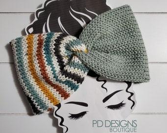 Wildflowers & Blue Knit Twisted Ear Warmer Headband | Turban Headband | Ear Warmer | Wide Headband | Head Wrap | Fall Wear