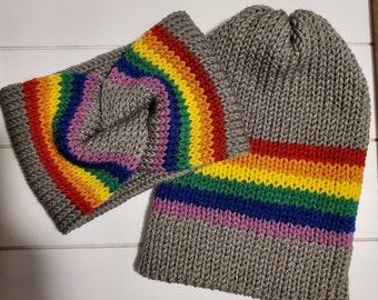Pride Knit Beanie | Pride Ear Warmer | Pride wear| Pride flag hat | Head Wrap | Fall Wear | Rainbow Headband | Rainbow beanie | Love is love