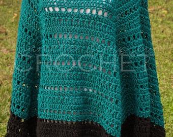 Boho Poncho with Fringe crochet teal black cowboy poncho western style