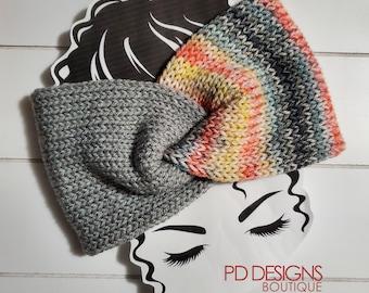 Sunset & Gray Knit Twisted Ear Warmer Headband | Turban Headband | Ear Warmer | Wide Headband | Head Wrap | Fall Wear
