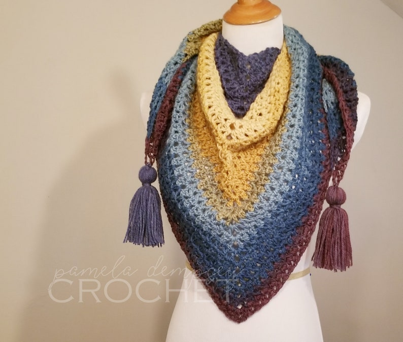 Triangle Scarf with tassels in Muted Rainbow / Crochet image 0