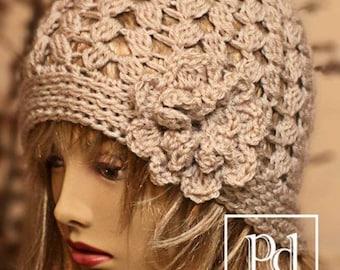 CROCHET Pattern / 4 Seasons beanie / Crochet Hat Pattern / crochet beanie hat / beanie hat / crochet cloche / crochet flower / rose /P 103
