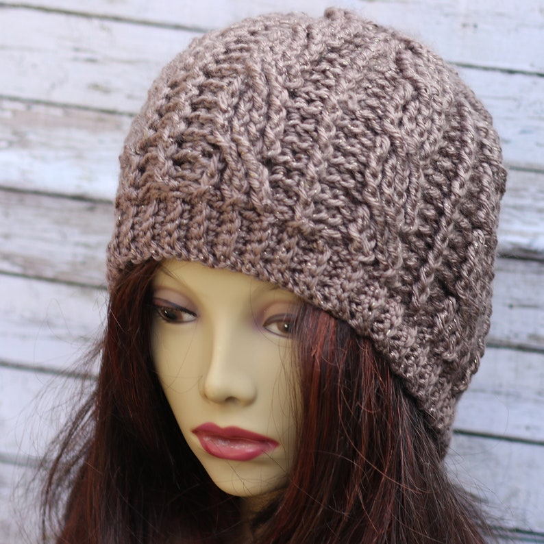 Crochet Cables Hat / Brown  metallic / slouchy hat / crochet image 0