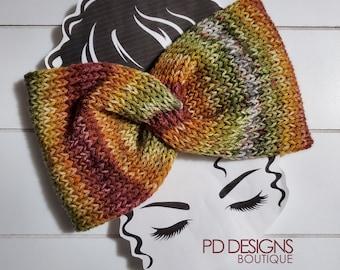 Muted Rainbow Knit Twisted Ear Warmer Headband | Turban Headband | Ear Warmer | Wide Headband | Head Wrap | Fall Wear