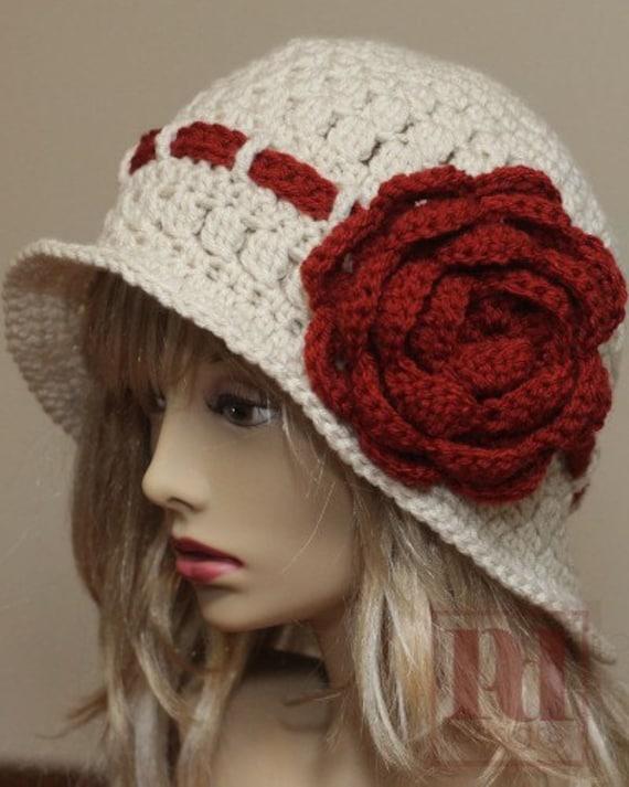Crochet Pattern Large Rose Cloche Crochet Hat Pattern Etsy