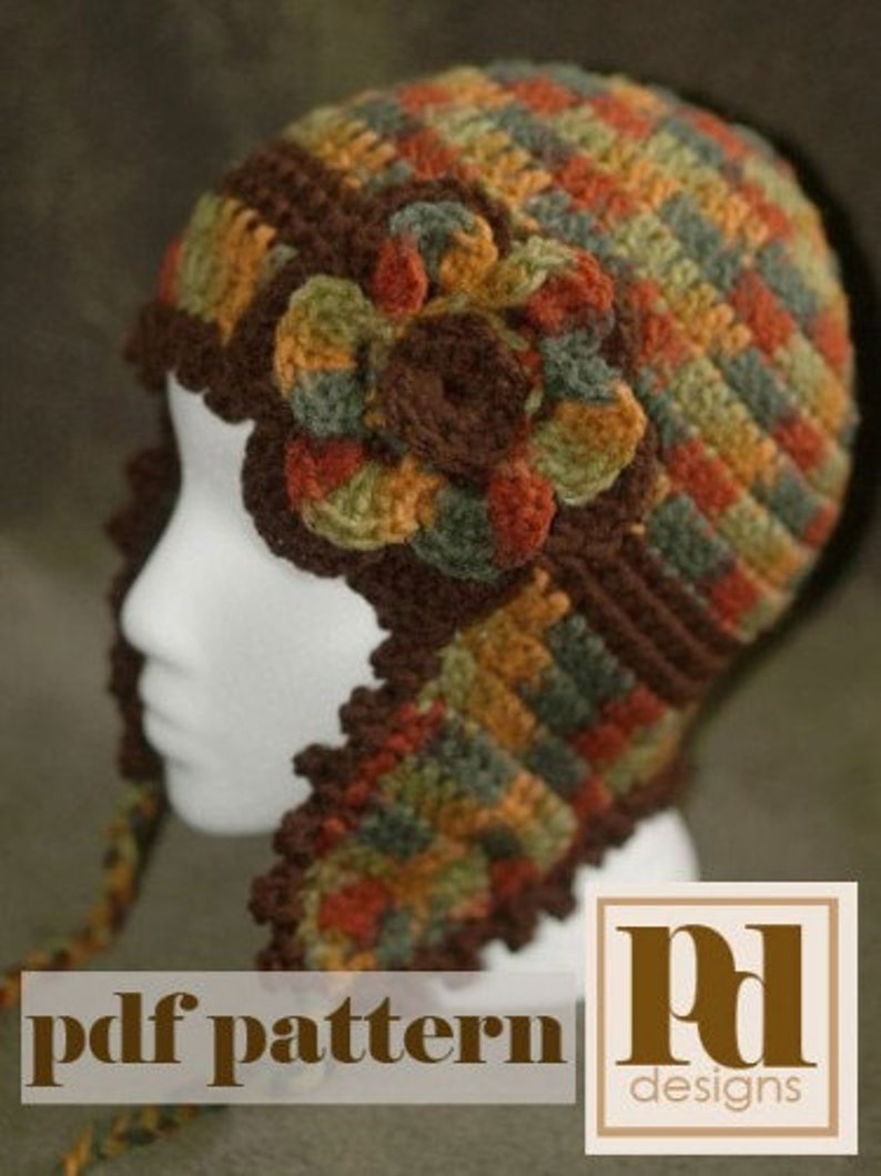 CROCHET PDF PATTERN: Picot Edged Ear Flap Hat image 0