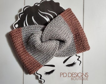 Rose & Gray Sparkle Bow Knit Twisted Ear Warmer Headband | Turban Headband | Ear Warmer | Wide Headband | Head Wrap | Fall Wear