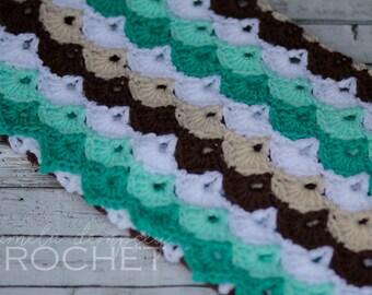 Crochet Baby Blanket, Shells Blanket, Mint Chocolate Blanket, Teal Brown blanket, crib blanket, photo prop teal, green, brown, white lapghan