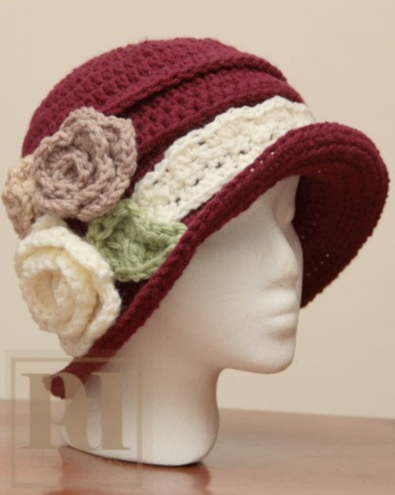 CROCHET PDF PATTERN: Elegant Ruched Cloche with Flowers image 0
