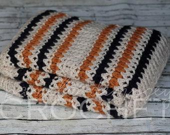 Crochet Baby Blanket, Rugby Striped Blanket, stroller blanket, crib blanket, photo prop, team blanket, blue blanket, gold blanket