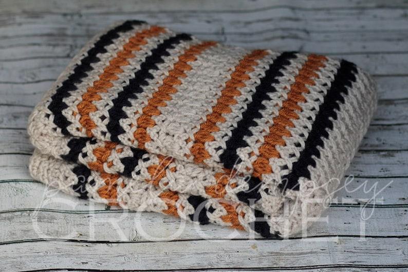 Crochet Baby Blanket Rugby Striped Blanket stroller blanket image 0