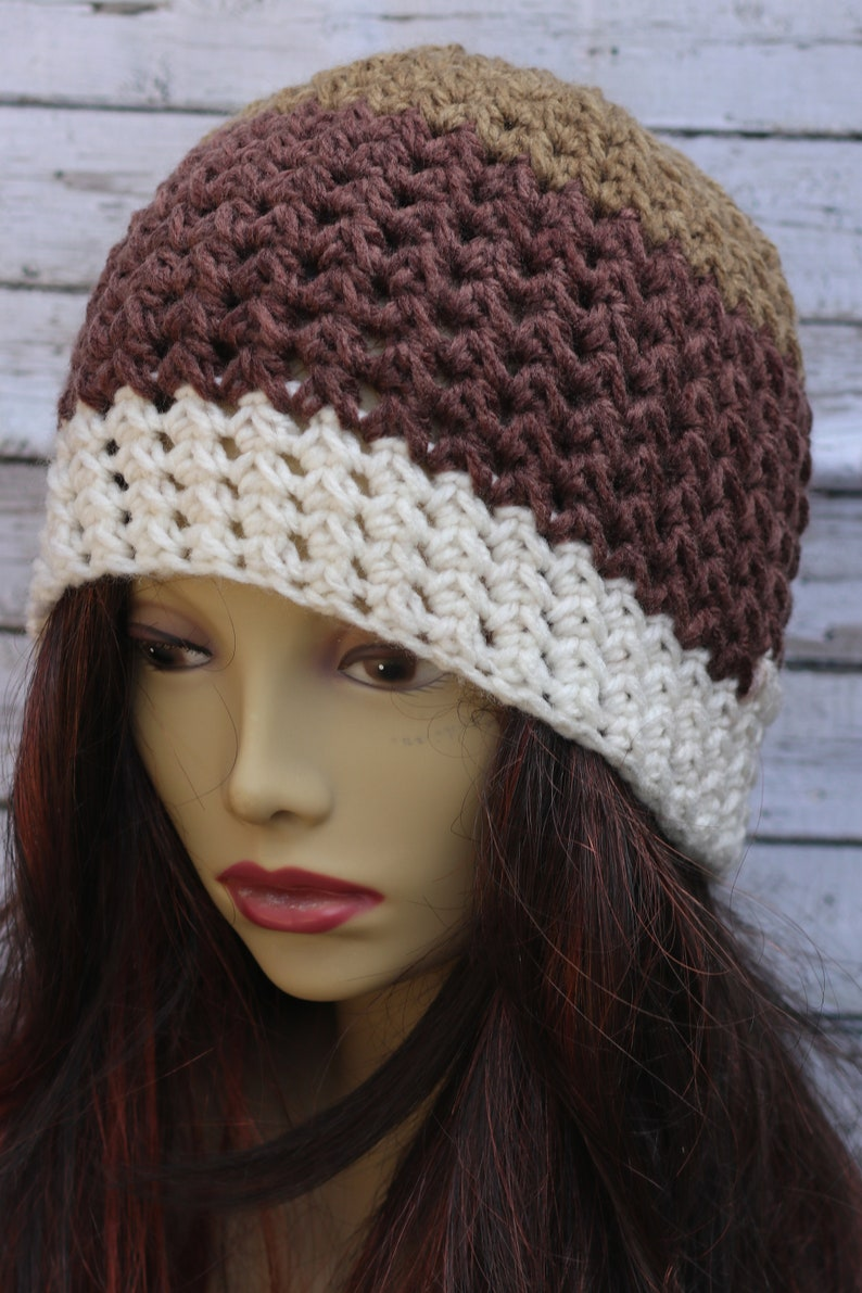 Knit Look Crochet Beanie / Brown Cream Ombre/ Crochet beanie image 0