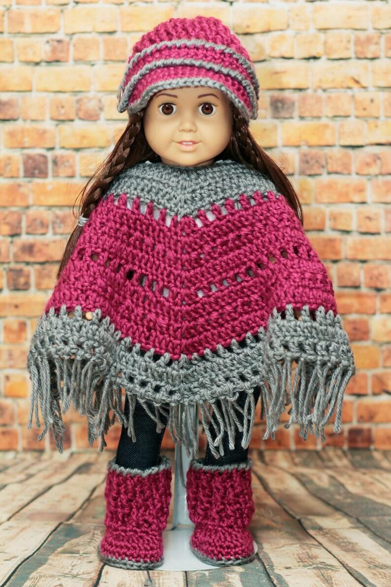 Crochet 18 inch Doll Boho Poncho set / Pink Grey / American image 0