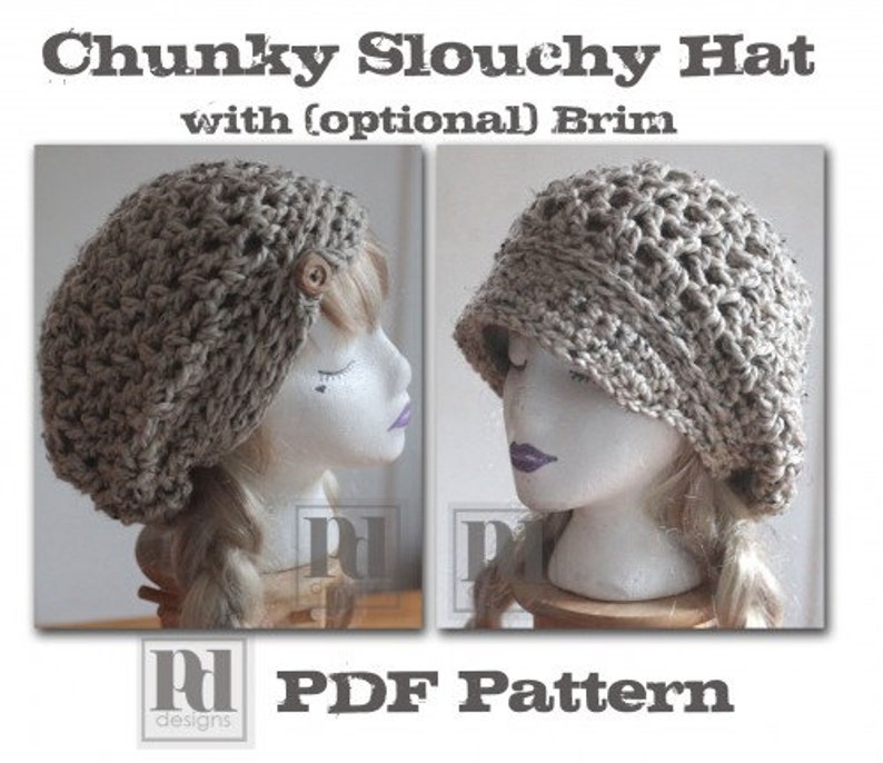 CROCHET PATTERN / Lacey slouchy hat / chunky hat pattern / image 0