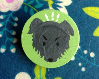 Shaggy Dog Hand Painted Pin