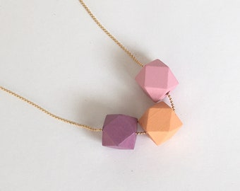 "Chain necklace geometric ""Hexagon"" wood cube ball gold ball chain 80 cm long"