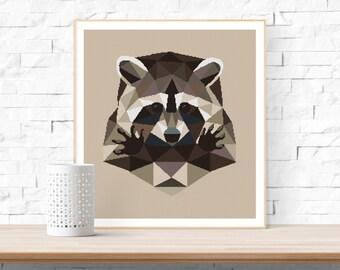 Modern Cross Stitch Pattern / Raccoon Cross Stitch Pattern / Funny Cross Stitch Pattern / Cross Stitch PDF / DMC Cross Stitch Pattern