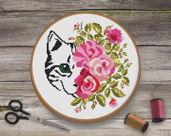 Cat Cross Stitch Pattern  Modern Cross Stitch Pattern  Cat Embroidery   Floral Cross Stitch Pattern  Funny Cross Stitch Pattern  PDF Pattern