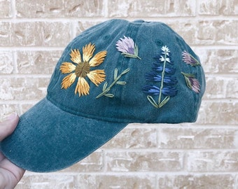 13d075cff8fd7 Wildflowers Hand Embroidered Cap - Teal