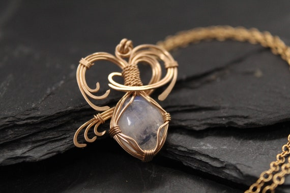 wire wrapped pendant Elegant and trendy accessories Handcrafted necklace Goldstone jewelry