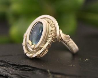 Kyanite Ring - Natural Blue Kyanite - Sterling Silver - Kyanite Jewelry - Adjustable Ring -  Bague Argent - Bague Femme -  Bague Pierre