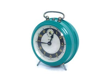 Turquoise retro Bayard alarm clock -- French vintage decor -- restored old clock from France