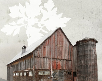 Barn-barn Leo Daoust Kiamika, reproduction of painting, 5.5 x 5.5 inches printed on cardstock