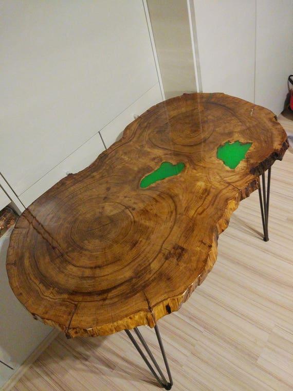 Tisch leuchtet in Dunkel Baumscheibe Esstisch Massivholz Eiche