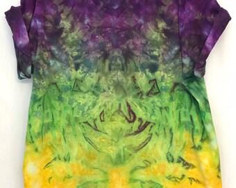 fa25e4a3f1b 2XL Mardi Gras Ice Dye Tie Dye V Neck T shirt Unique Purple