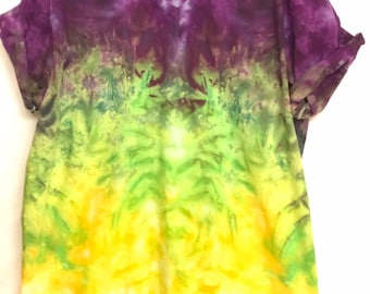 8c85eea4cae XL Mardi Gras Ice Dye Tie Dye V Neck TShirt Cool Unique