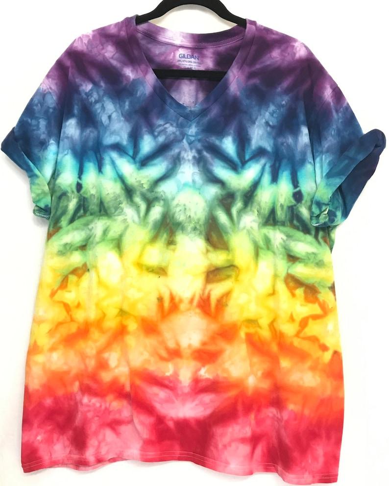 fe53cc259 2XL Rainbow Ice Dye Tie Dye V Neck T-Shirt Cool Unique Tye | Etsy