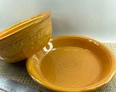 Homer Laughlin Oven Serve Pie Dish and Casserole Set in Pumpkin Embossed Floral Pattern 1930 s USA