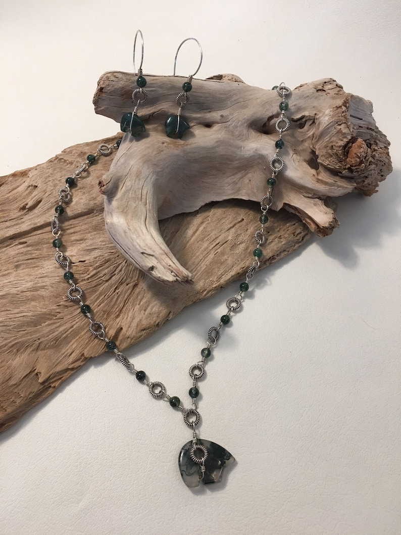 Sterling Silver and Moss Agate Spirit Bear Necklace  and Earring Set