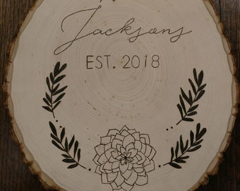 Engraved Family Name Tree Stump