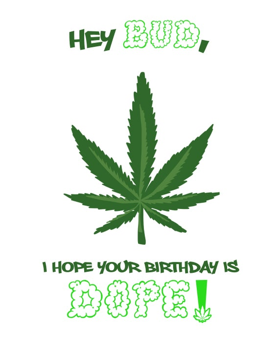 Dope Birthday Card Funny Weed Birthday Card Etsy