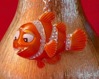 A Beautiful Diamante Nemo Fish Keyring Charm Pendant Purse Bag Key Ring Chain Keychain Gifts