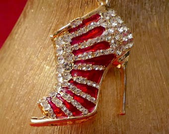 A Beautiful Diamante Red Shoe Keyring Charm Pendant Purse Bag Key Ring  Chain Keychain Gifts 0ca72e565