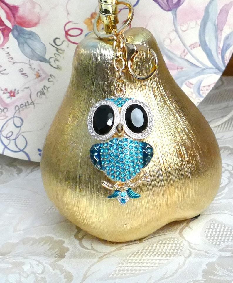A Beautiful Diamante Large Blue Owl Rhinestones Keyring Charm Pendant Purse Bag Key Ring Chain Keychain Gifts