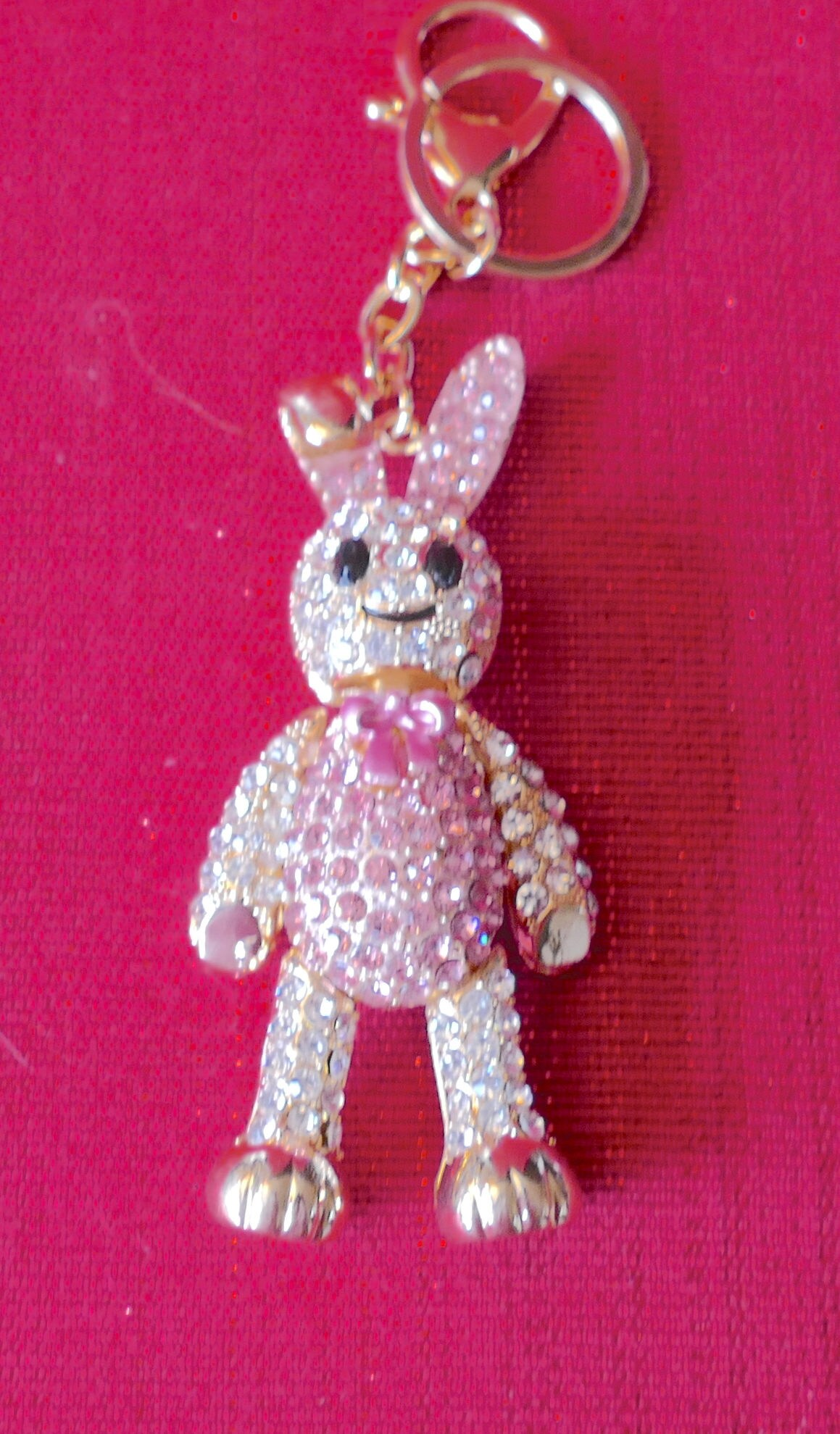 Beautiful Large  Diamante /& Pink Rabbit crystal Purse Ladies Handbag Key Ring Chain Lucky Gift