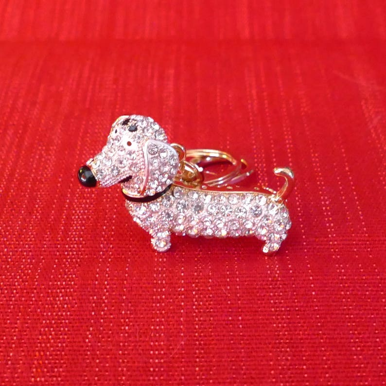 bb8f3adedda Beautiful Crystal Dachshund Dog Rhinestone Keyring Charm | Etsy