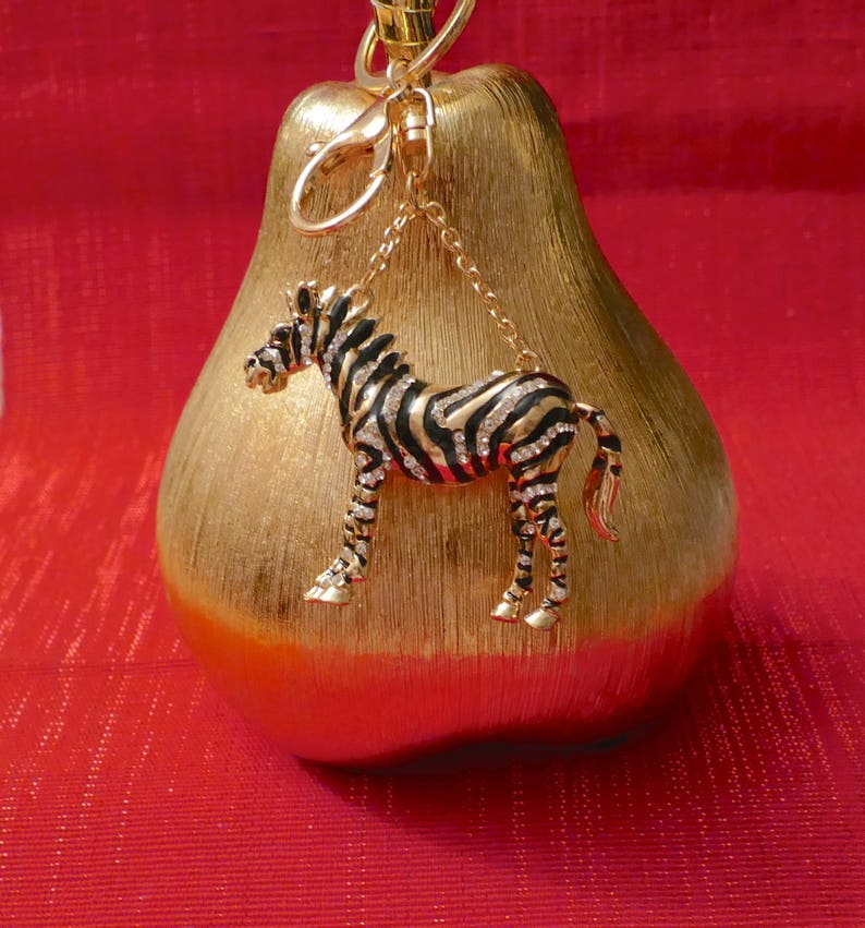 A Beautiful Diamante Zebra Keyring Charm Pendant Purse Bag Key Ring Chain Keychain Gifts