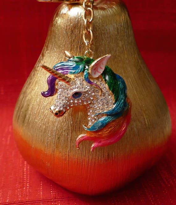 Une belle Licorne Diamante avec multicolores Maine strass porte-clé breloque pendentif sac à main sac porte-clés chaîne porte-clé cadeaux