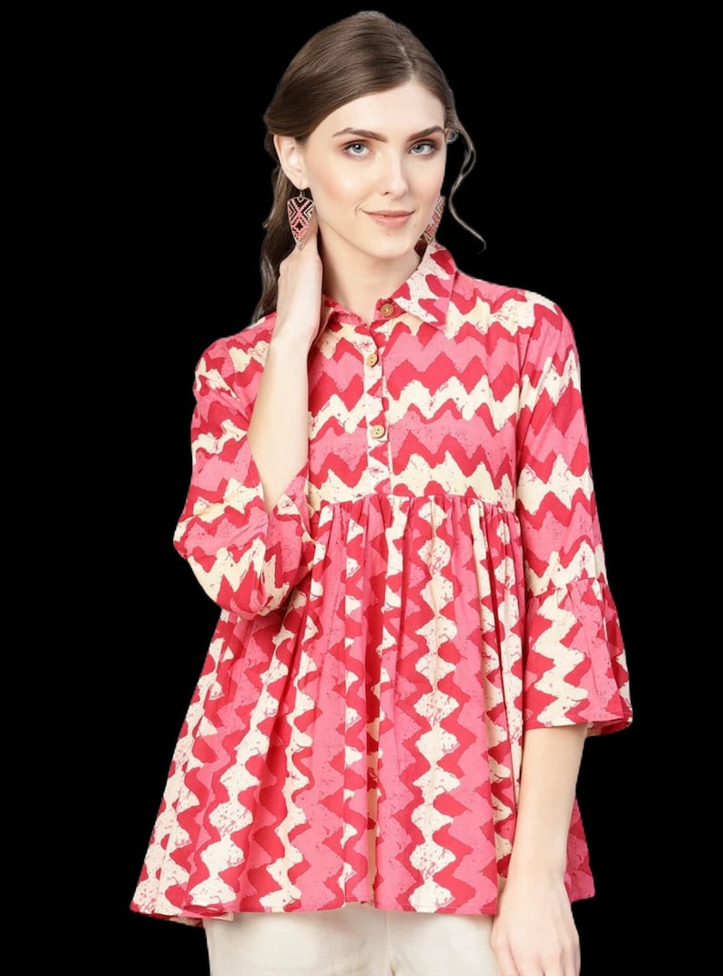 Pure cotton summer blouses Trendy Wear Indian Kurti Casual Shirts Cotton Blouses Tunic Loose Tops