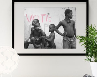 """Jamaican Boys Graffiti 16"""" x 20"""" Photography Framed - Black & White with Selective Color"""