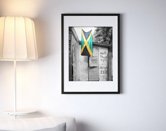 """Jamaican Flag Graffiti 16"""" x 20"""" Photography Framed - Black & White with Selective Color"""