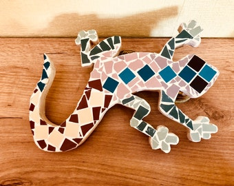 Handmade Salamander, Wooden Gecko decorated With Mosaics imd Mediterranean style including Suspension